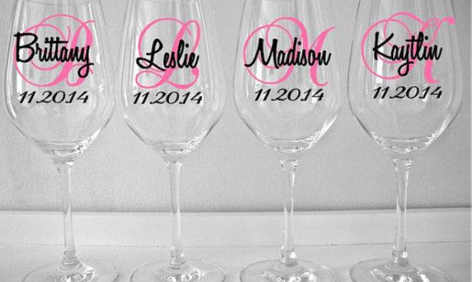 Personalized Wine Glass Decal Monogram Name Date