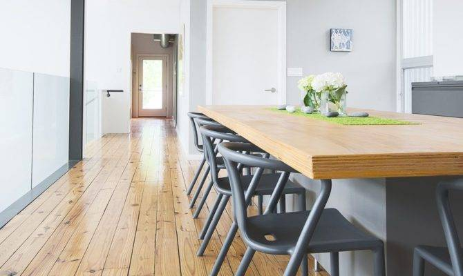 Pine Wood Dining Room Flooring Still Attractive Despite