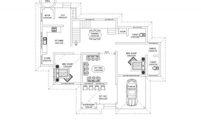 Plan Kerala Sqft House Ground Floor