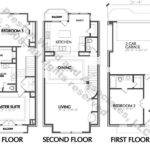 Plans Townhome Blueprints Narrow Residential Town House