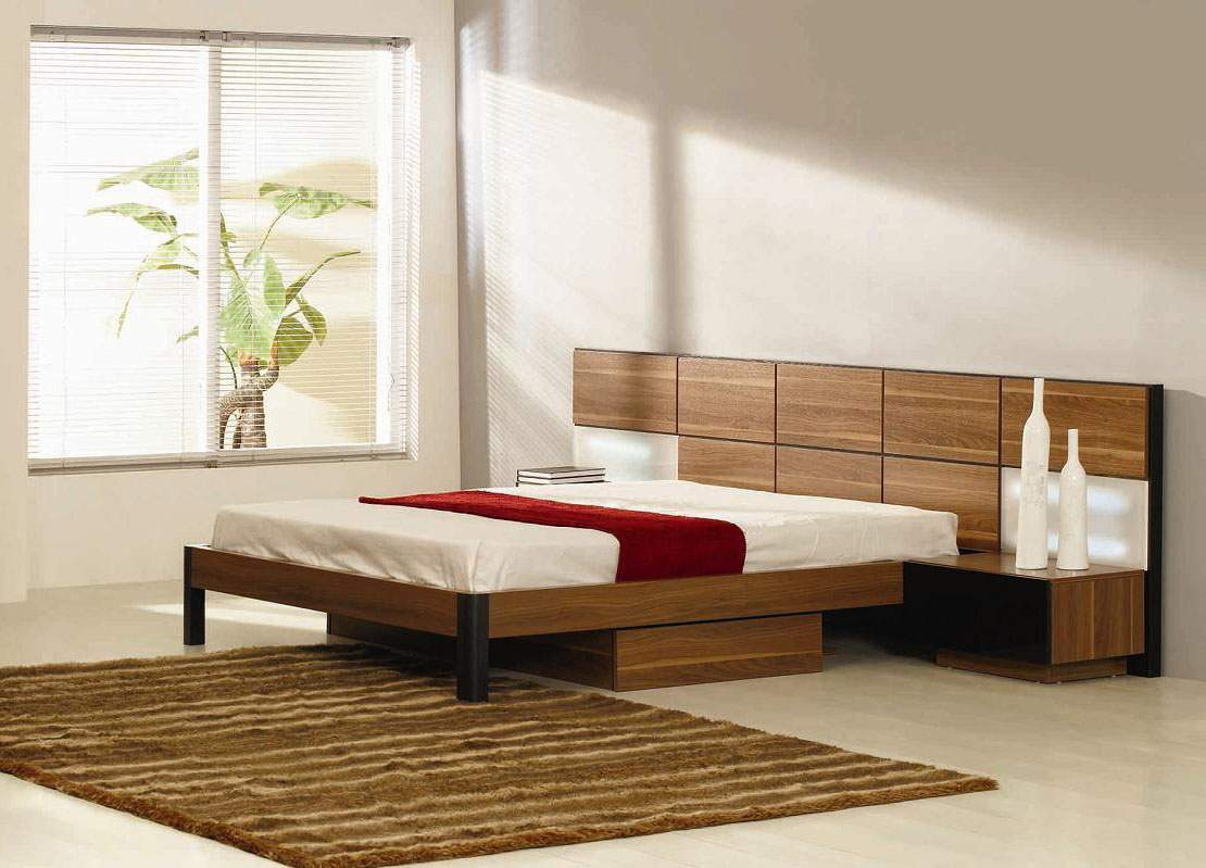 platform bed floating side tables nightstand