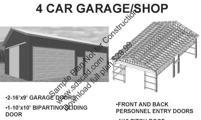 Pole Barn Plans Car Garage Sds