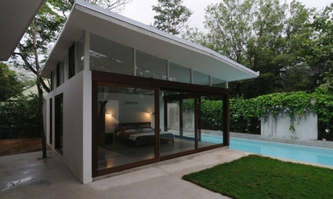 Poolhouse Bedroom Floor Ceiling Windows Design Olpos