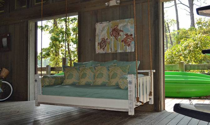 Porch Swing Bed Blue Giraffe