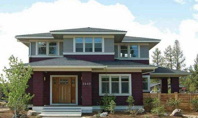 Prairie Style House Plans Red Gray Colors