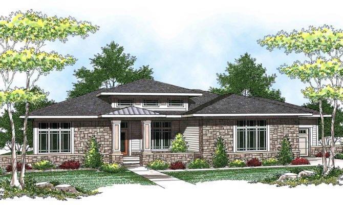 Prairie Style Ranch Home Plan Architectural