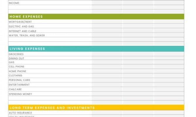 Printable Household Budget Worksheet
