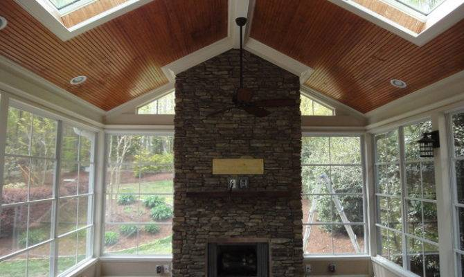Raleigh Screen Porch Fireplace Traditional