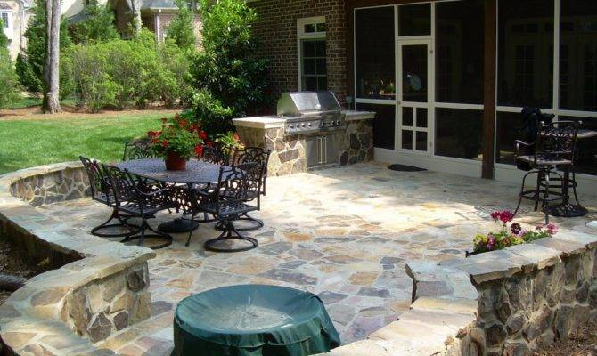 Raleigh Stone Patio Down Earth Landscape Designs Inc