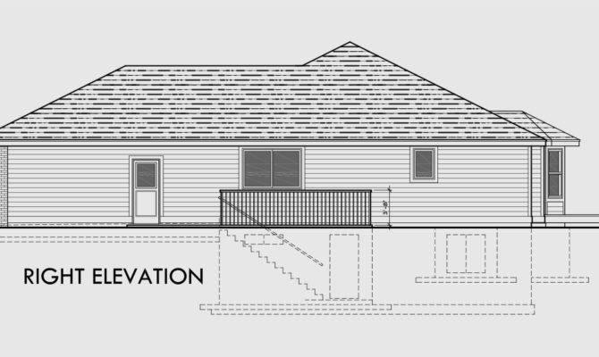 Ranch House Plan Car Garage Basement Storage One