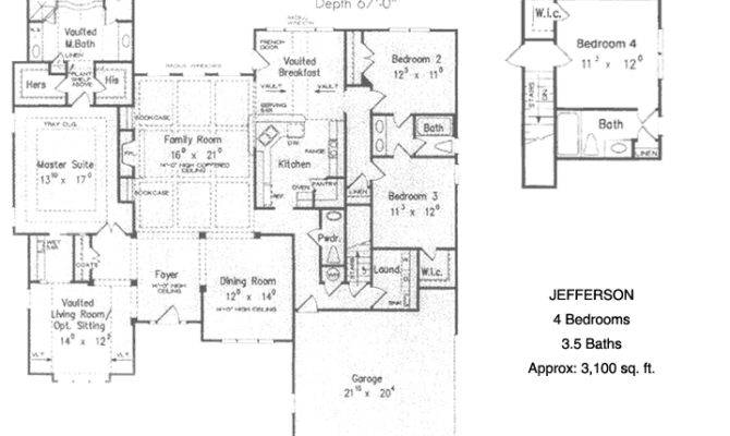 Ranch Style Jefferson Custom Home Floor Plan Includes Bedrooms