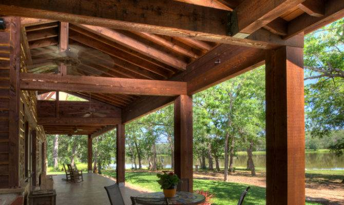 Ranch Style Lake Rustic Porch Houston