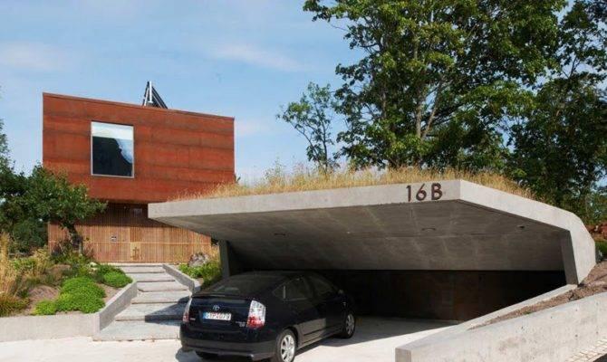 Really Like Open Car Garage Idea Cantilevered Concrete