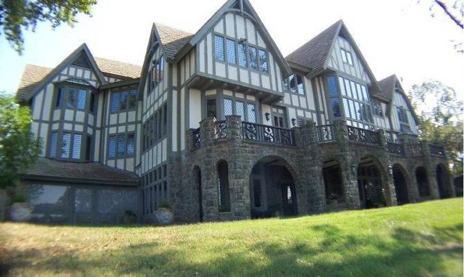 Rear Elevation English Tudor Manor Home