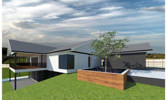 Rear Large Suburban Blocks Sloping Contemporary Home