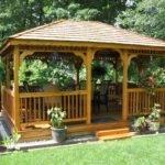 Rectangle Gazebos Red Cedar Deck Single Roof
