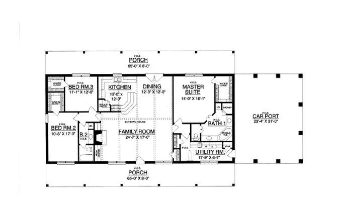 Rectangle Single Level House Plans First Floor Plan Ranch Home