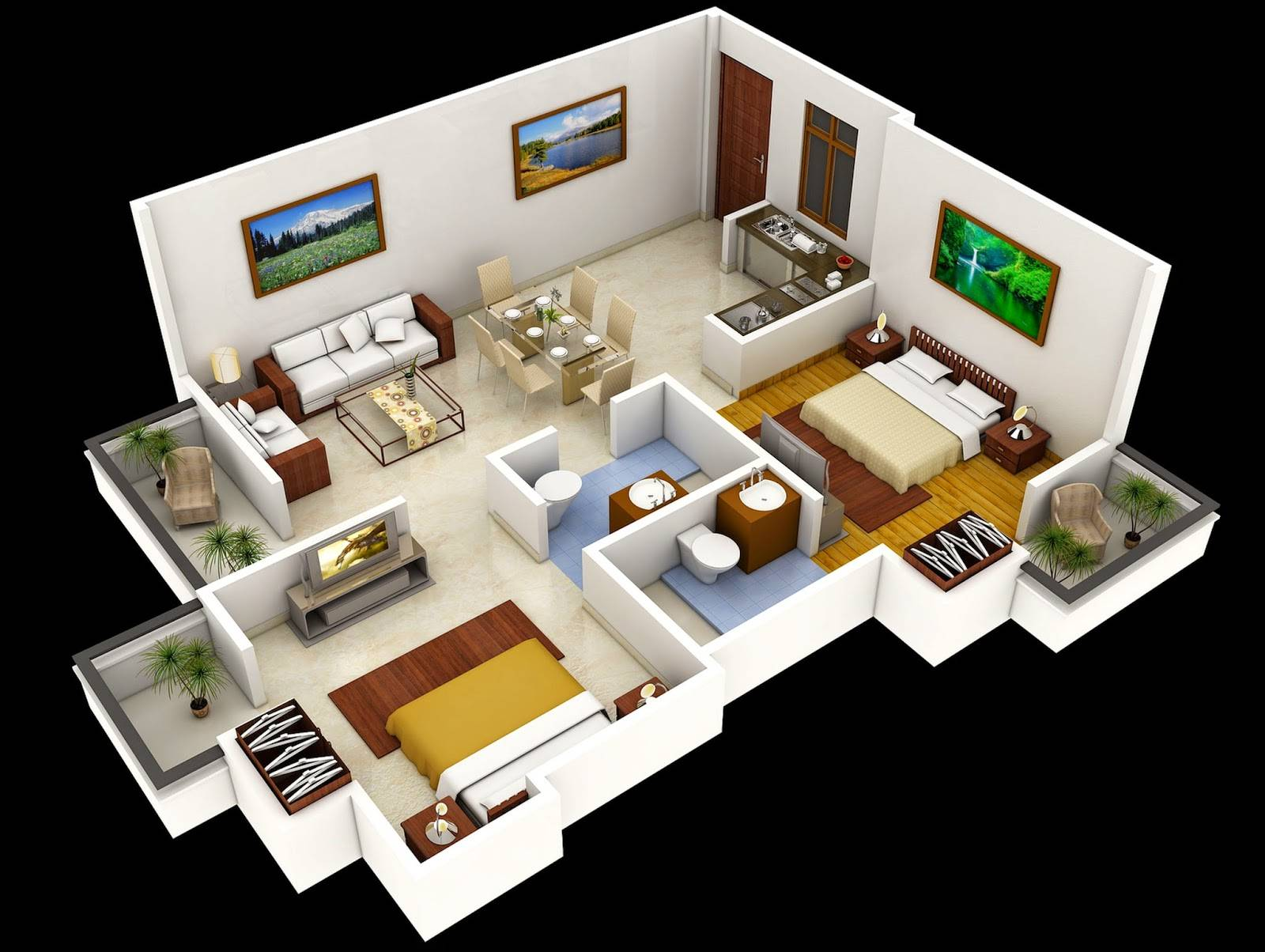 Related Two Bedroom House Interior Design House Plans 50371