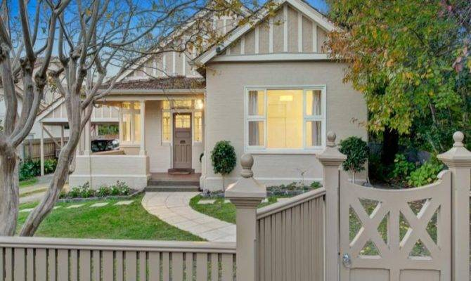 Rendered Brick Victorian House Exterior Picket Fence Landscaped