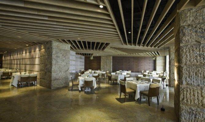 Restaurant Interior Stone Wall Design House