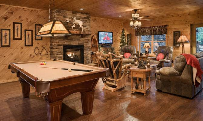 Retreat Rustic Basement Charlotte Log Homes