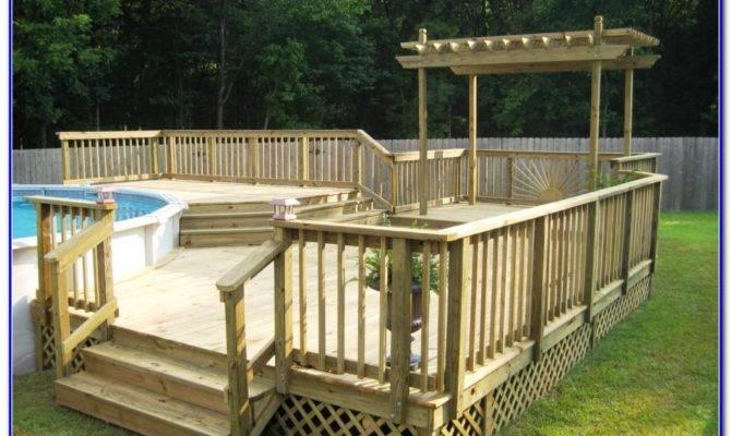 Round Above Ground Pool Deck Plans Decks Home