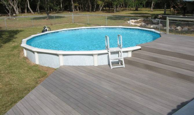 Round Above Groundpool Composite Decking Comal