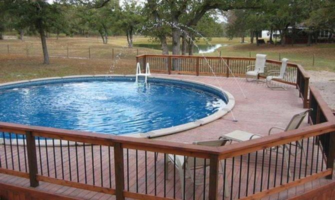Round Pool Deck Designs Above Ground Fountain