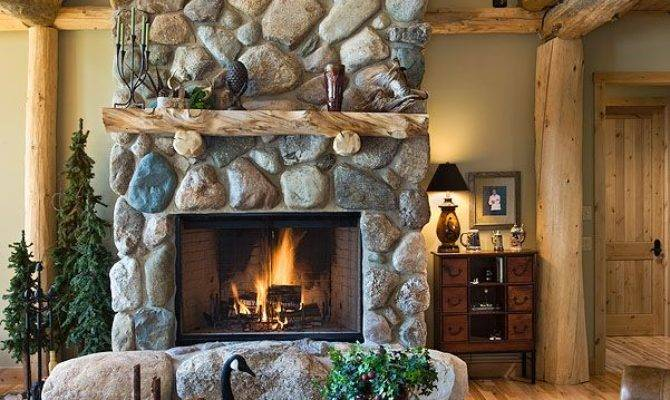 Rustic Country Cabins Stone Fireplace