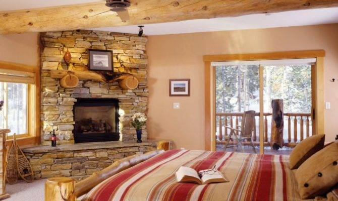 Rustic Gas Fireplace Bedroom Stone