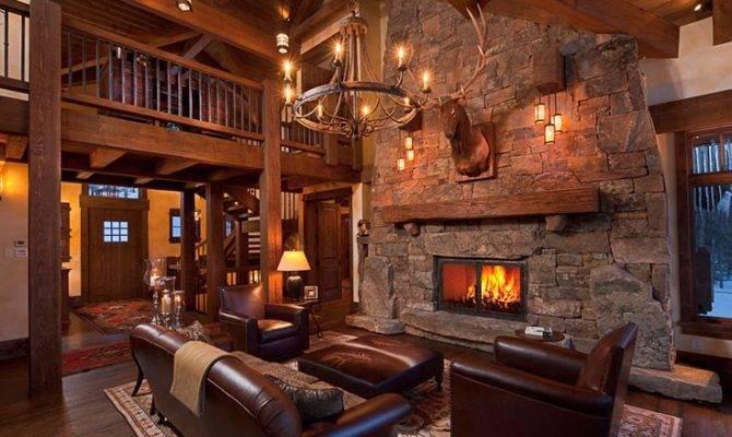 Rustic Great Room Open Floor Plan Getaway Cabin Pinterest