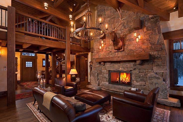 Rustic Great Room Open Floor Plan Getaway Cabin Pinterest House