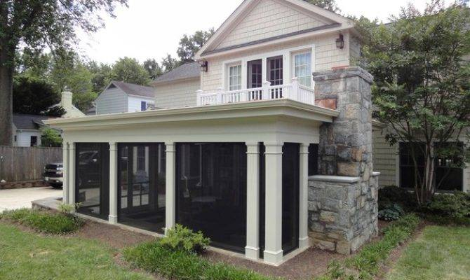 Screened Porch Fireplace Traditional