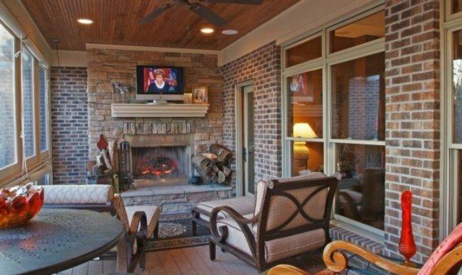 Screened Porch Fireplace House Plans