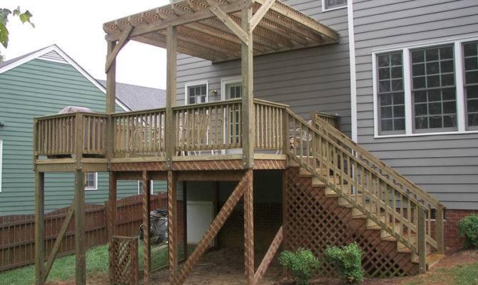 Second Story Deck Pergola Multilevel Multiple Stairways