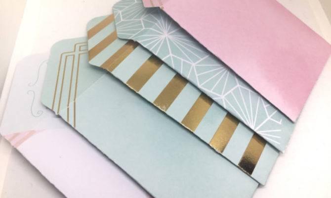 Set Pink Blue Gold Metallic Mini Envelopes Gift