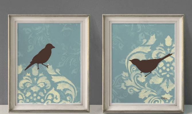 Shabby Bird Prints French Country Wall Decor Large Loriamckee
