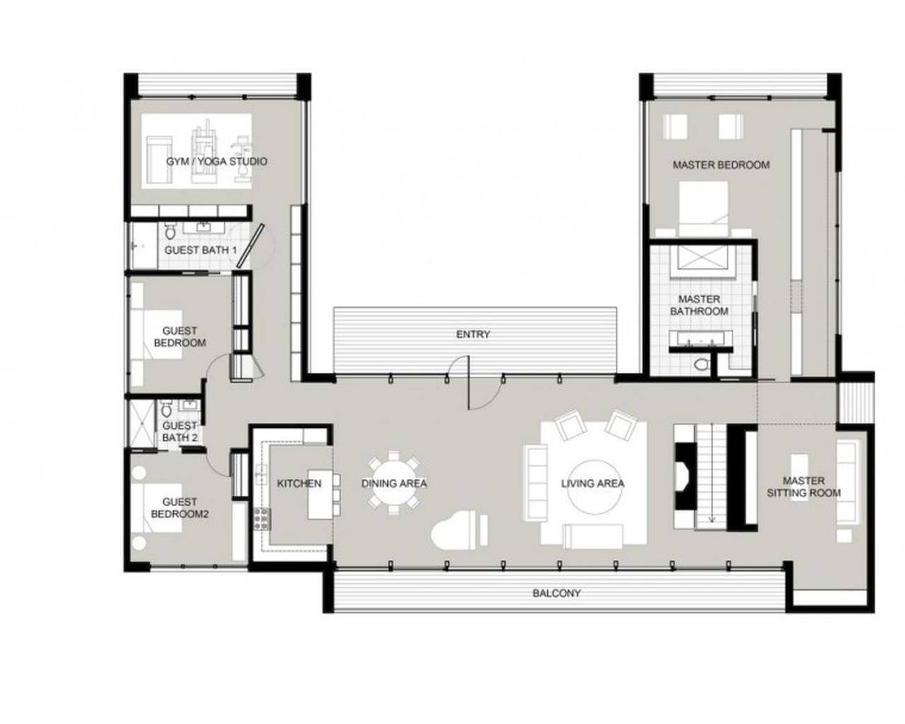 Shaped House Plans Courtyard Middle
