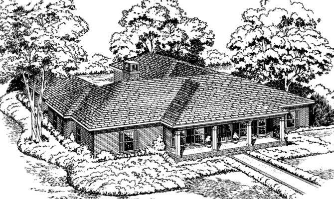 Shaped House Plans Ranch Style Home Courtyard