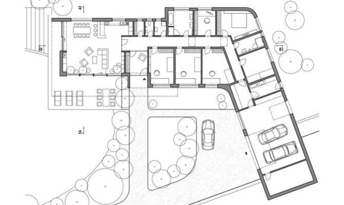 Shaped House Plans Walkout Basement Modern