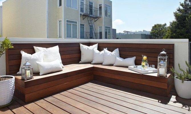 Shaped Plank Bench Transitional Deck Patio