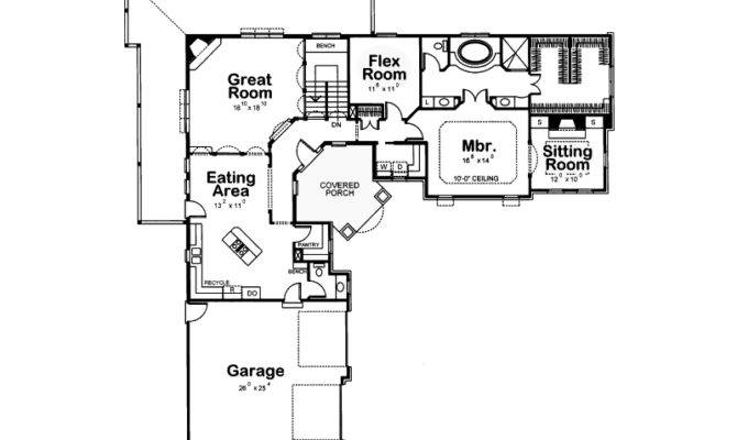 Shaped Ranch House Plan Garage Design Home Plans