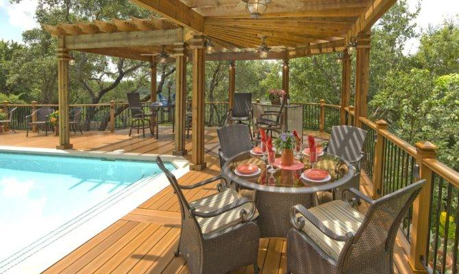 Shaped Wood Pergola Over Pool Deck Archadeck Outdoor