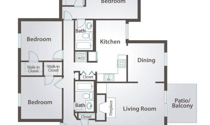 Simple Bedroom Bath Floor Plans Apartment