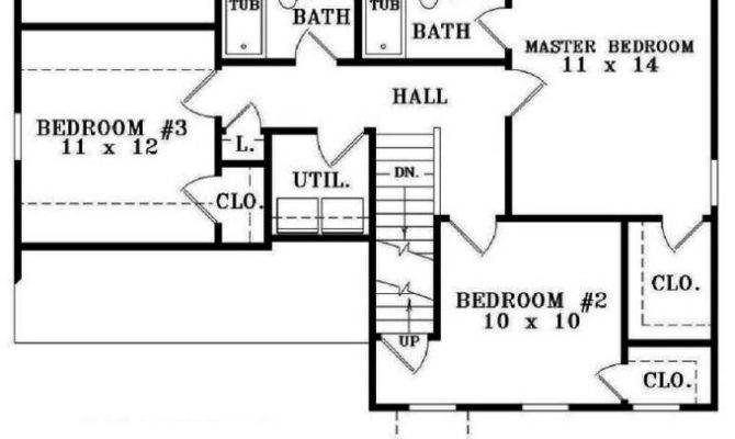 Simple Bedroom Bath House Plan Plans Floor Home