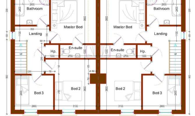 Simple Bedroom Semi Detached House Plans
