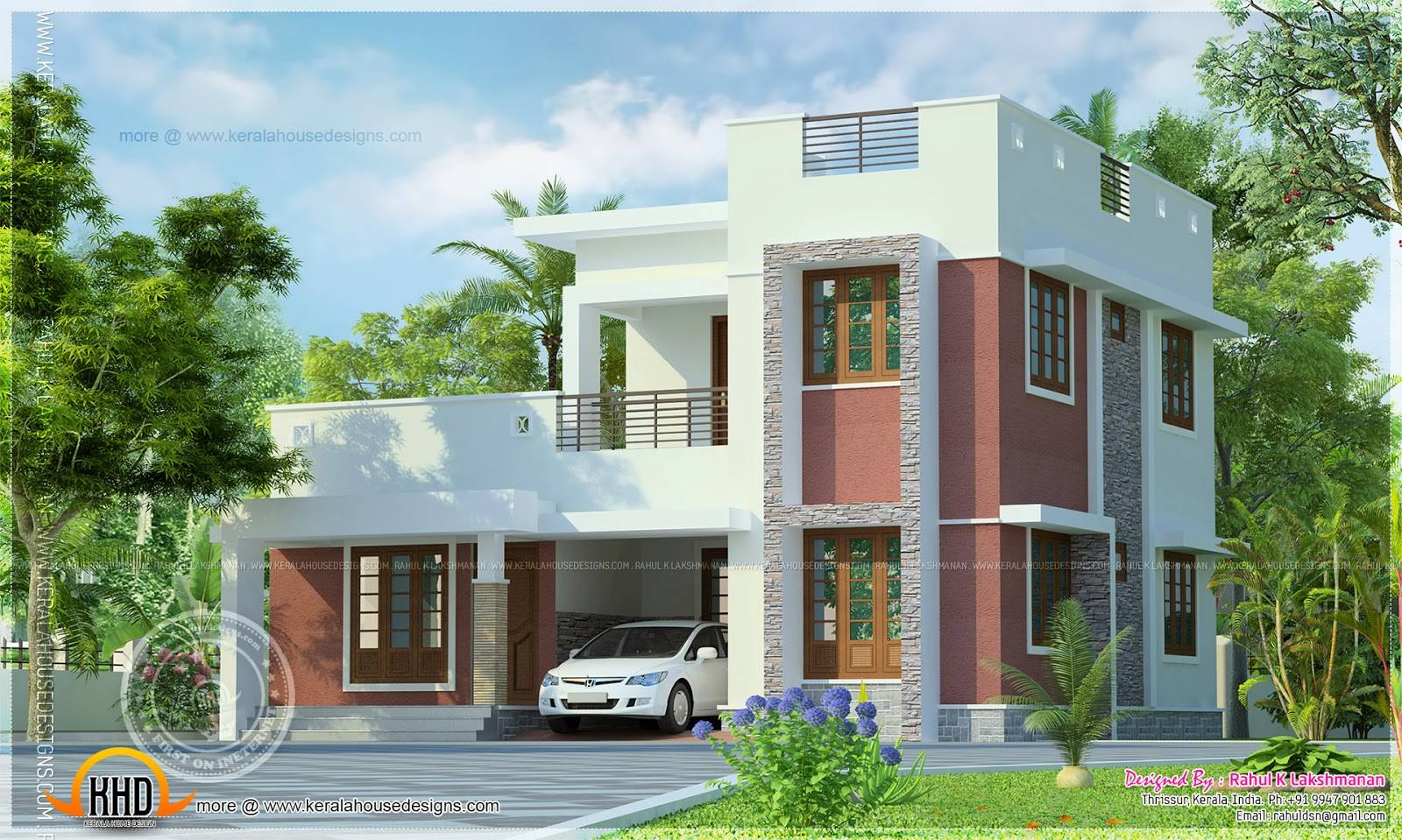 Simple Flat Roof House Exterior Kerala Home Design House Plans 170918