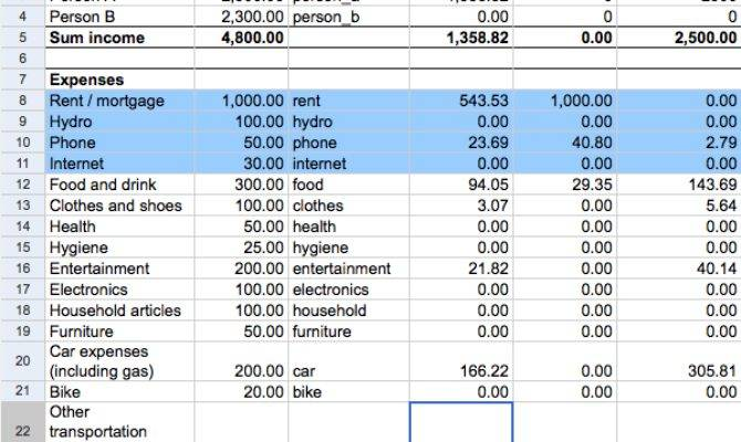 Simple Household Budget Expenses Tracker