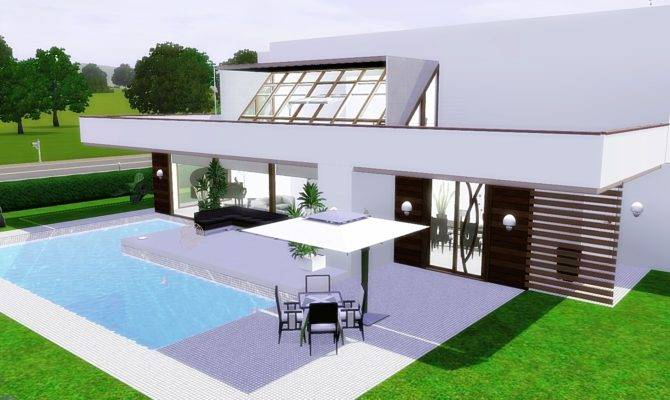 Simple Modern House Sims Becuo