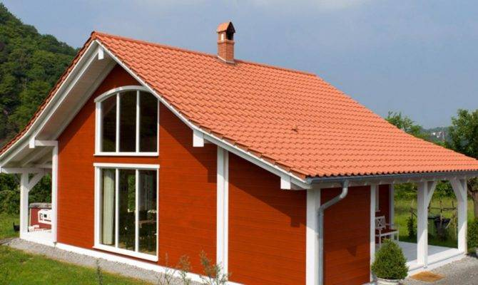 Simple Open Concept Small House Design Orange Roofs Including Red